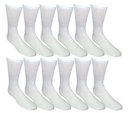 12 Units of Yacht & Smith Kids Premium Cotton Crew Socks White Size 4-6 - Boys Crew Sock
