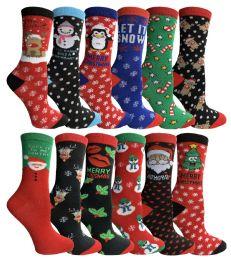 12 Units of Yacht & Smith Christmas Holiday Socks, Sock Size 9-11 - Womens Holiday Themed Socks
