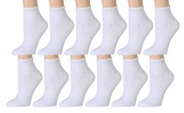12 Units of Yacht & Smith Women's No-Show Cotton Ankle Socks Size 9-11 White - Womens Ankle Sock