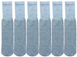 6 Units of Yacht & Smith Kids Solid Tube Socks Size 6-8 Gray - Boys Crew Sock