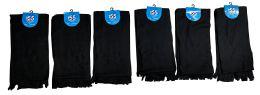 6 Piece Solid Black Color Warm Winter Fleece Scarfs - Winter Scarves