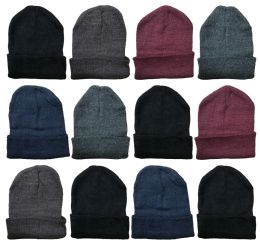 12 Units of 12 Winter Toboggan Beanie Hats by SOCKSNBULK Thermal Sport Mens Womens, Assorted - Winter Beanie Hats