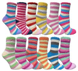 12 Units of Womens Fuzzy Socks Crew Socks Warm Butter Soft Assorted Stripes - Womens Fuzzy Socks