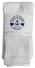 6 Units of Yacht & Smith Kids White Solid Tube Socks Size 4-6 - Boys Crew Sock