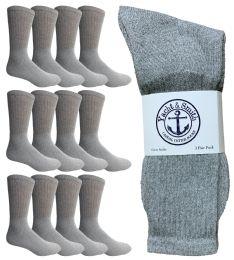 12 Units of Yacht & Smith Men's Premium Cotton Crew Socks Gray Size 10-13 - Mens Crew Socks