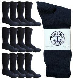 12 Units of Yacht & Smith Men's Premium Cotton Crew Socks Navy Size 10-13 - Mens Crew Socks