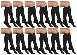 12 Units of Yacht & Smith Girls Knee High Socks, Solid Colors Black - Girls Knee Highs