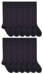 12 Units of Yacht & Smith Womens Knee High Socks, Size 9-11 Solid Navy - Womens Knee Highs