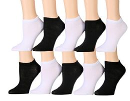 10 Pairs of WSD Womens Ankle Socks, No Show Athletic Sports Socks (Assorted White / Black) - Womens Ankle Sock