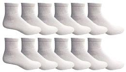 12 Units of Men's Quarter Length Low Cut Ankle Socks, Cotton - Mens Ankle Sock