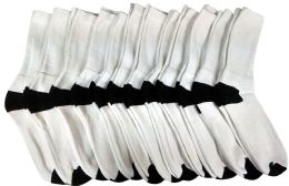 12 Units of 12 Pairs Of Socksnbulk Athletic Crew Socks For Men,black Color Toes And Heel, Size 10-13 - Mens Crew Socks