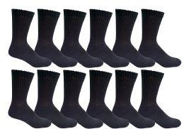 12 Units of Yacht & Smith Women's Cotton Diabetic Non-Binding Crew Socks Size 9-11 Black - Women's Diabetic Socks