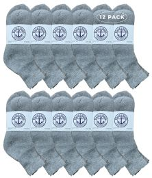 12 Units of Yacht & Smith Men's Premium Cotton Sport Mid Ankle Socks Size 10-13 Solid Gray - Mens Ankle Sock