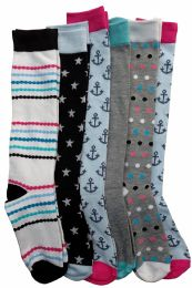 6 Units of 6 Pairs Of Mod And Tone Woman Designer Knee High Socks, Boot Socks (pack f) - Womens Knee Highs