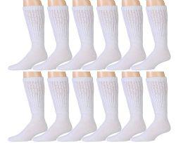 12 Units of Yacht & Smith Mens White Extra Heavy Slouch Sock, Sock Size 10-13 - Mens Crew Socks