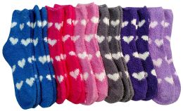 excell Womens Fuzzy Socks Crew Socks, Warm Butter Soft, 12 Pair Pack, Hearts B, 9-11 - Womens Fuzzy Socks