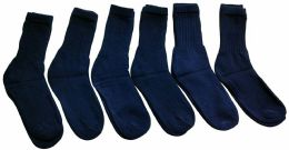 6 Units of Yacht & Smith Men's Loose Fit Non-Binding Soft Cotton Diabetic Crew Socks Size 10-13 Navy - Men's Diabetic Socks