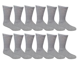 12 Units of Yacht & Smith Men's Loose Fit Non-Binding Soft Cotton Diabetic Crew Socks Size 10-13 Gray - Men's Diabetic Socks