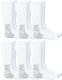 6 Units of Yacht & Smith Mens Heavy Duty Steel Toe Work Socks, White Size 10-13 - Mens Crew Socks