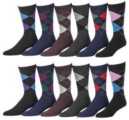 12 Units of Yacht & Smith Men's Designer Pattern Dress Socks, Cotton Blend - Mens Dress Sock