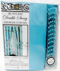 12 Units of Double Swag Fabric Shower Curtain with Vinyl Liner and 12 Roller Shower Rings (Turquoise - Shower Curtain