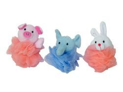 48 Units of Childrens Assorted Animal Puff Sponges - Loofahs & Scrubbers