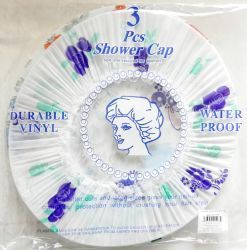 48 Units of 3 Pack Deluxe Shower Cap - Shower Caps