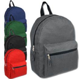 """24 Units of 15 Inch Basic Backpack - 5 Color - Backpacks 15"""" or Less"""