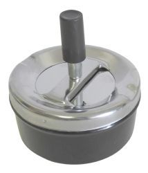 48 Units of Round Push Down Ashtray with Spinning Tray Black - Ashtrays
