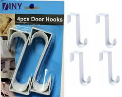 48 Units of Over The Door Hooks Hangers, Laundry Hanger White Plastic 4 Pack Coats Towels - Hooks
