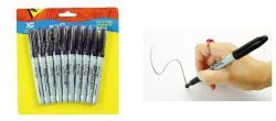 24 Units of 10 pack Slim Black Permanent Markers - MARKERS/HIGHLIGHTERS