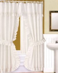 24 Units of Fabric Window Curtain 2 Piece Set With Tie Backs - Window Curtains