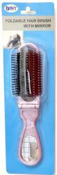48 Units of Folding Hair Brush With Mirror Compact Pocket Size Travel Car For Purse Bag - Hair Brushes & Combs