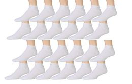 12 Units of Yacht & Smith Kids Cotton Quarter Ankle Socks In White Size 4-6 - Girls Ankle Sock