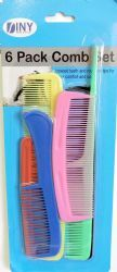 48 Units of 6 Pack Comb Set - Hair Brushes & Combs