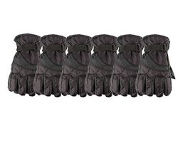 6 Units of Yacht & Smith Mens Winter Warm Waterproof Ski Gloves, One Size Fits All Black - Ski Gloves