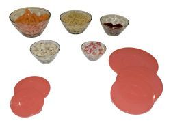 12 Units of 5 Piece Bevelled Glass Bowl Set with Lids - Glassware