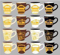 48 Units of 11 ounce Stoneware Mug New York City Taxi - Coffee Mugs