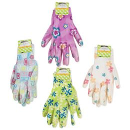 48 Units of Women's Printed Nitrile Coated Garden Gloves - Gardening Gloves