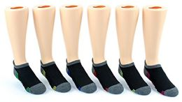30 Pairs Value Pack of WSD Boy's & Girl's No Show Socks (Size 6-8), Black / Gray / Colorful
