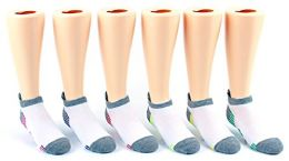 30 Pairs Value Pack of WSD Boy's & Girl's No Show Socks (Size 6-8), White / Gray / Colorful