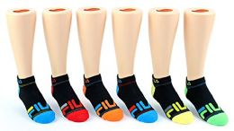 30 Pairs Value Pack of WSD Boy's & Girl's No Show Socks (Size 6-8), Black / Colorful Heel and Toe