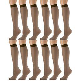 12 Pairs of excell Sheer Trouser Socks for Women, 20 Denier Knee High Dress Socks (Brown) - Womens Trouser Sock