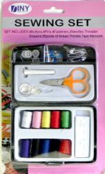 48 Units of Travel and Home Sewing Set in Plastic Case - Sewing Supplies