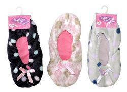 12 Units of 3 Pair Value Pack Ladies Butter Toes Slipper Sock Non-Slip Booties - Women's Slippers