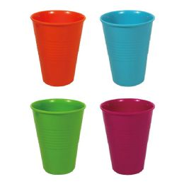 24 Units of DIAMETER 9.5 X 12CM H 14 OZ DOUBLE CHECK TUMBLER SOLID 4 ASSORTED - Plastic Drinkware