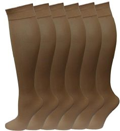 6 Units of 6 Pairs Pack Women Knee High Trouser Socks Opaque Stretchy Spandex (many Colors) (beige) - Womens Trouser Sock