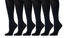 6 Pairs Pack Women Knee High Trouser Socks Opaque Stretchy Spandex (Many Colors) (Navy) - Womens Trouser Sock