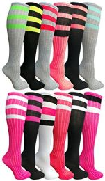12 Pairs of Womens Referee Knee High Socks, Neon Striped Colorful Cheerleader Sock, by WSD (12 Pairs Assorted B)