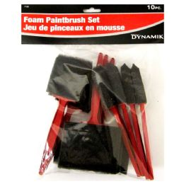 24 Units of 10 Piece Foam Paintbrush Set - Paint and Supplies